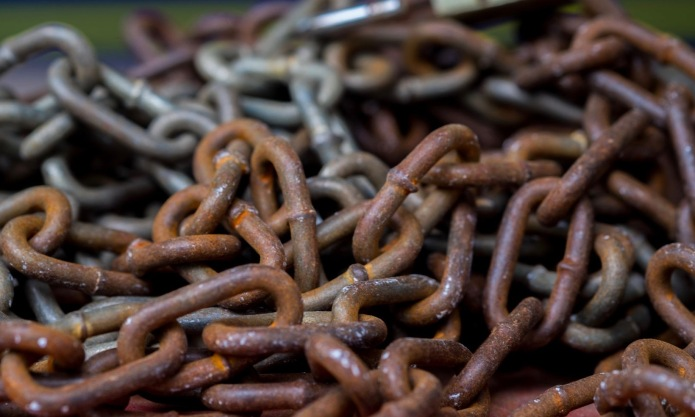 63733210 - old rusted chain .(selective focus)