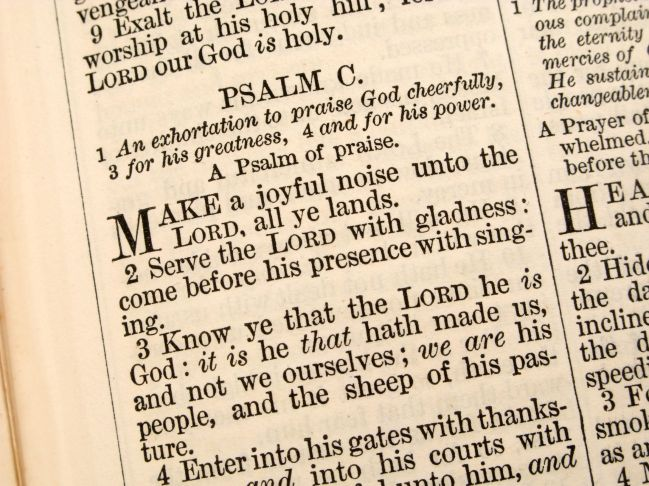 4480848 - close up of psalm 100 in an 1868 bible.